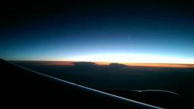 Crossing the dayline, flight London Heathrow - Astana (Kazakhstan), May 2016