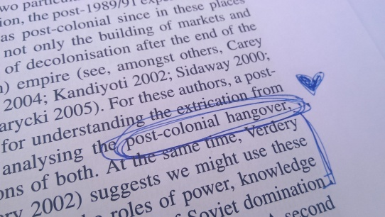 """Post-colonial hangover"""