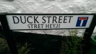 Bilingual English/Cornish street sign, Mousehole, UK, July 2016